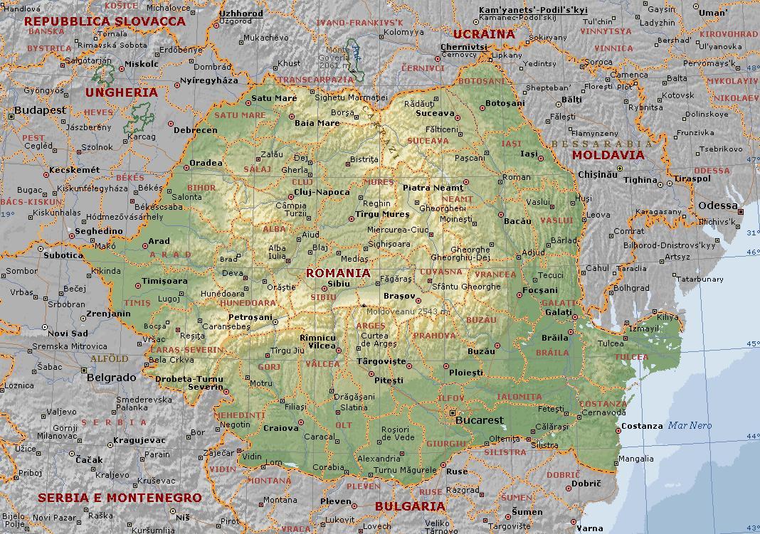 Romania Carta Geografica Mappa Della Romania