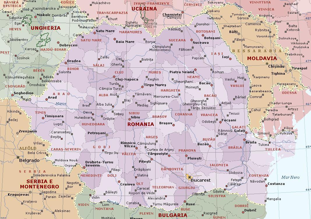 Cartina Aeroporti Romania.Romania Carta Geografica Mappa Della Romania