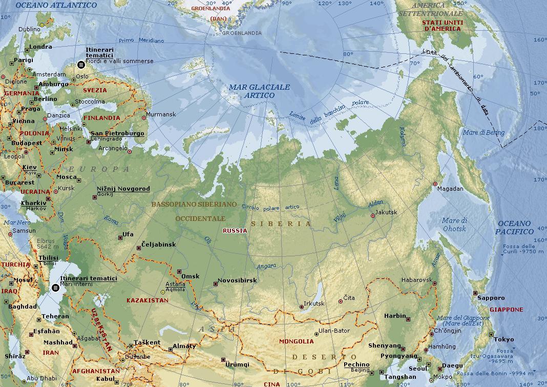 Russia Carta Geografica Mappa Russa