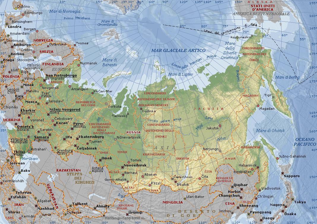Cartina Politica Russia In Italiano.Russia Carta Geografica Mappa Russa