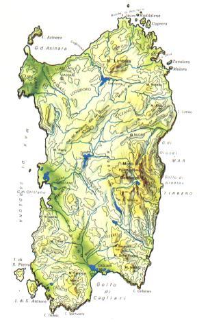 Cartina Sardegna Grande.Sardegna Mappa Rilievi Valichi Coste Isole Paesaggio Fiumi Laghi Sarde