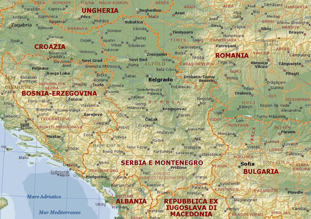 Serbia E Montenegro Carta Geografica Mappa Della Serbia E Montenegro