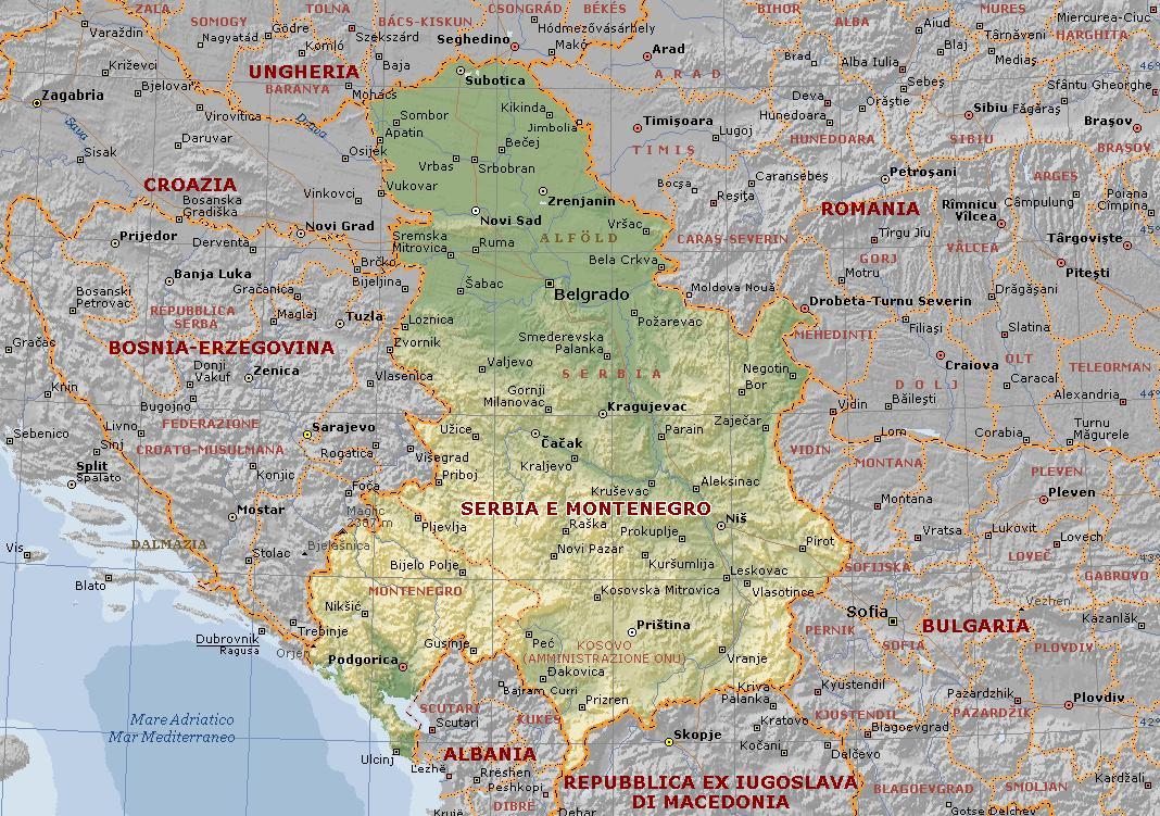 Serbia e montenegro: carta geografica mappa della serbia e montenegro