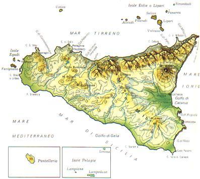 Cartina Della Sicilia Con Le Isole.Sicilia Mappa Rilievi Valichi Coste Isole Paesaggio Fiumi Laghi Siciliani