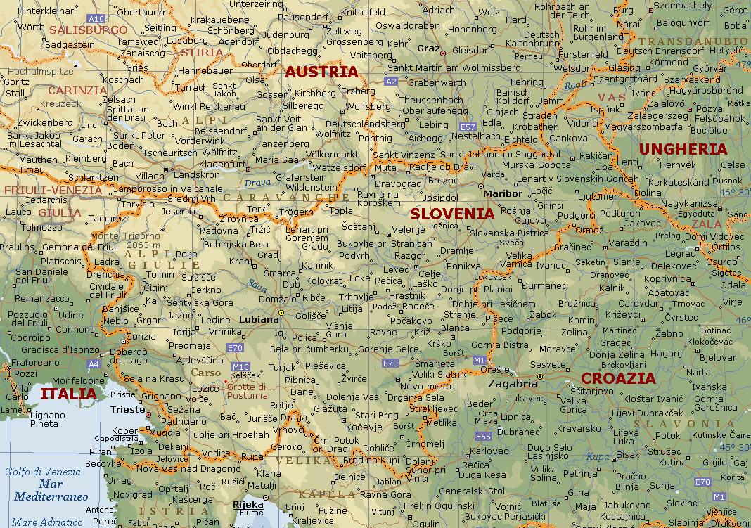 Cartina Geografica Friuli.Slovenia Carta Geografica Mappa Della Slovenia