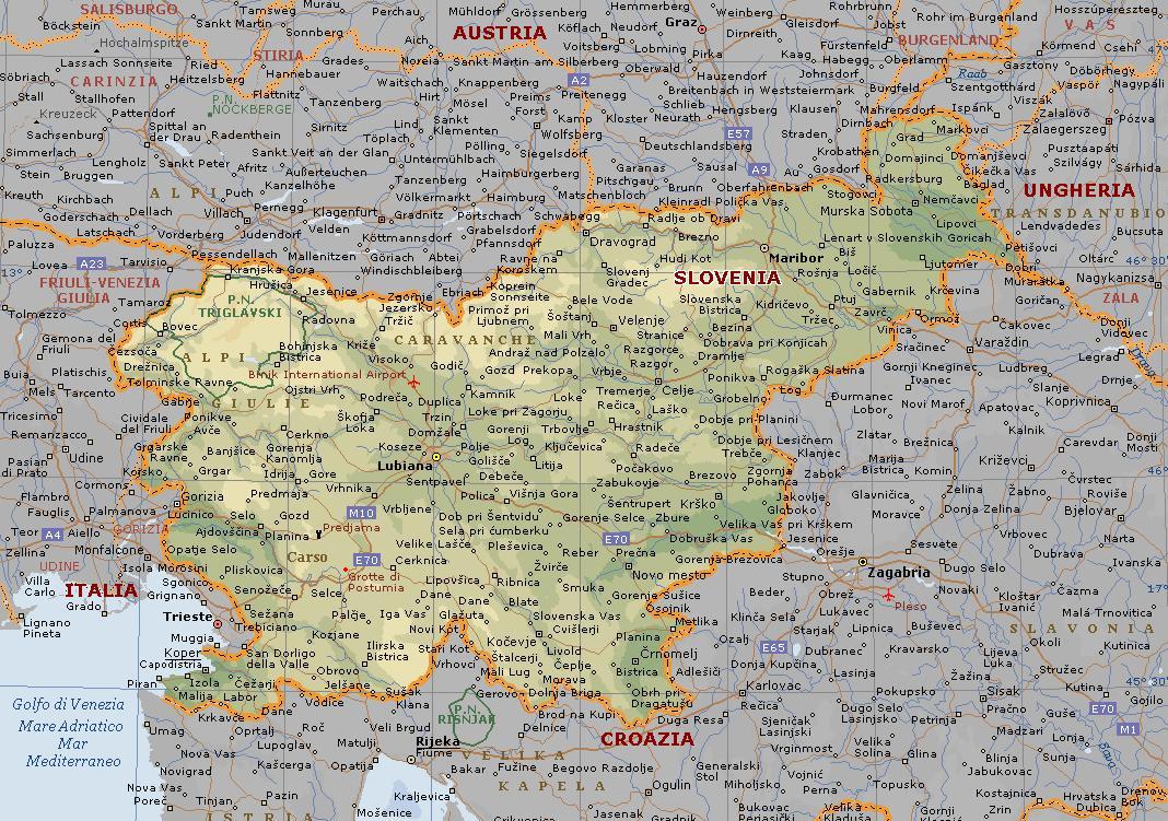 Cartina Tematica Austria.Slovenia Carta Geografica Mappa Della Slovenia