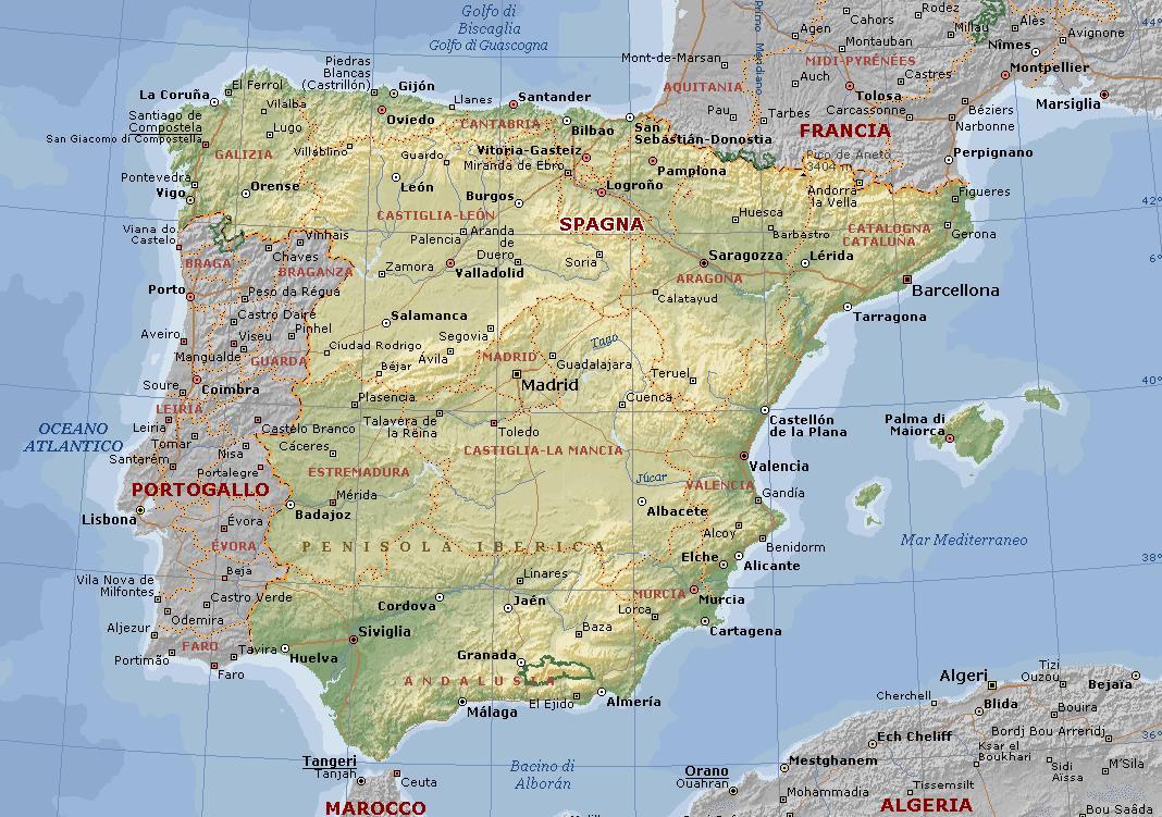 Cartina Spagna Lingue