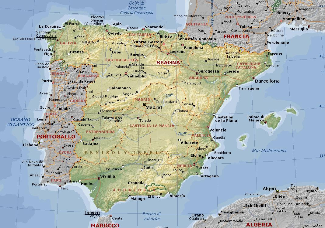 Cartina Fiumi Spagna.Spagna Carta Geografica Mappa Spagnola
