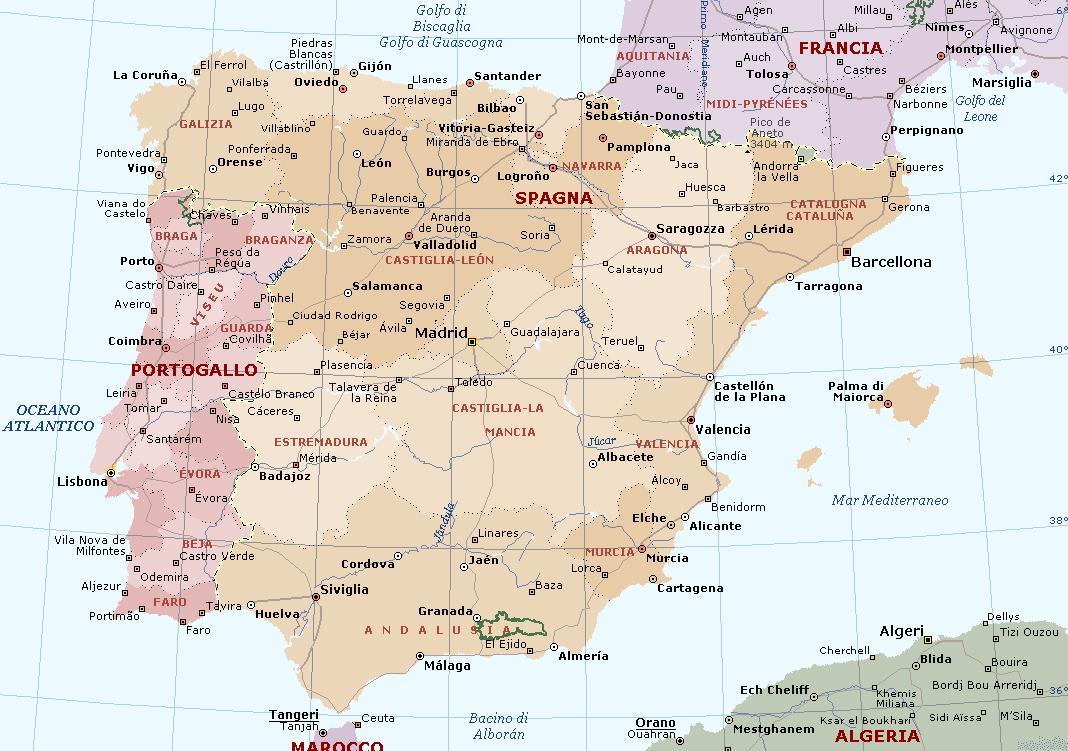 La Spagna Cartina.Spagna Carta Geografica Mappa Spagnola
