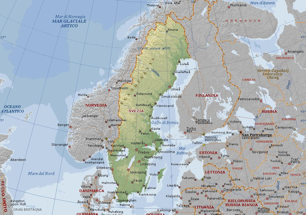 Cartina Della Svezia.Svezia Carta Geografica Mappa Svedese