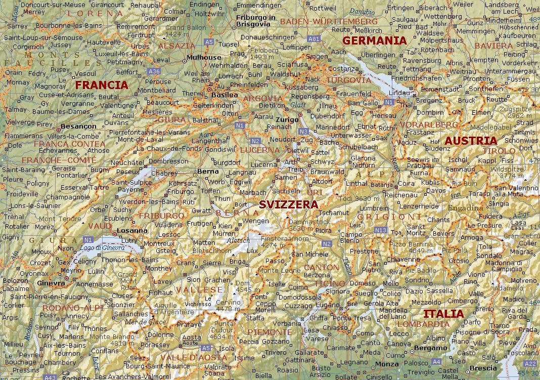 Cartina Tematica Austria.Svizzera Carta Geografica Mappa Della Svizzera