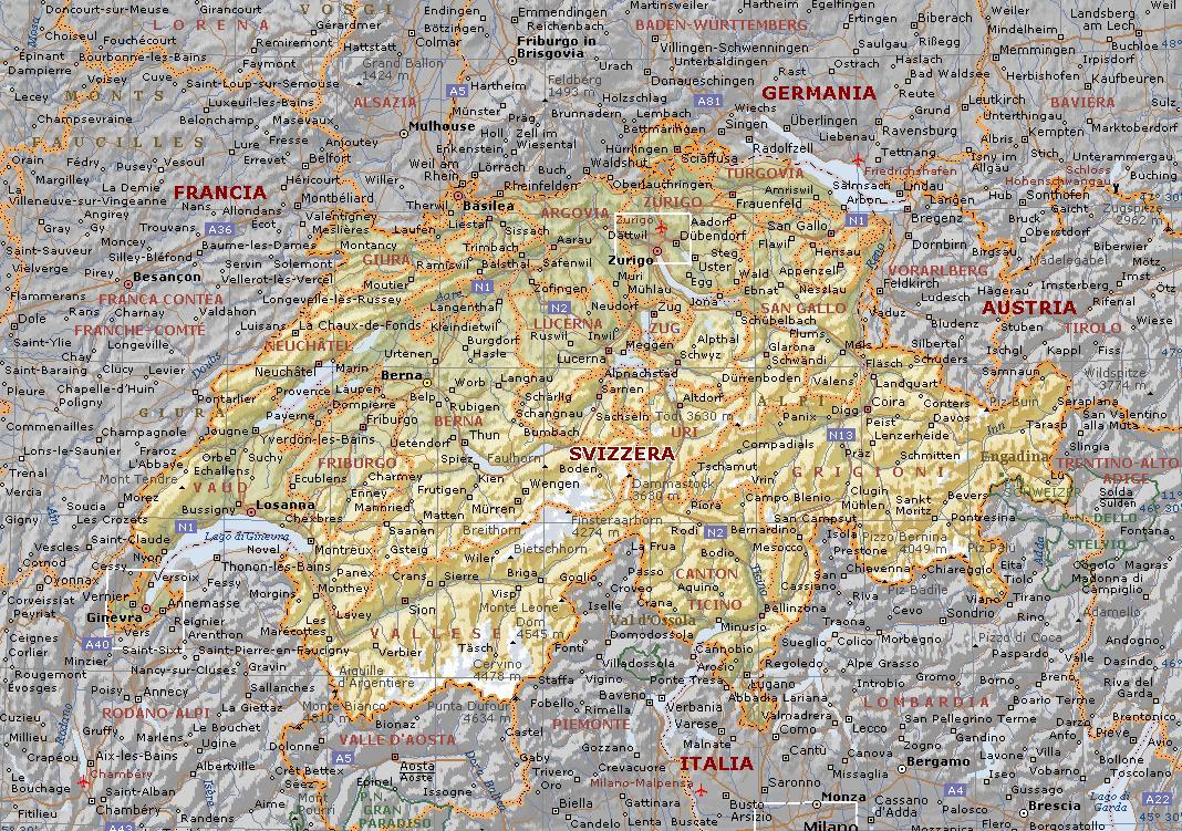 La Cartina Geografica Della Svizzera.Svizzera Carta Geografica Mappa Della Svizzera