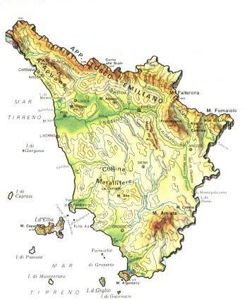 Cartina Fiumi Toscana.Toscana Mappa Rilievi Valichi Coste Isole Paesaggio Fiumi Laghi Toscane