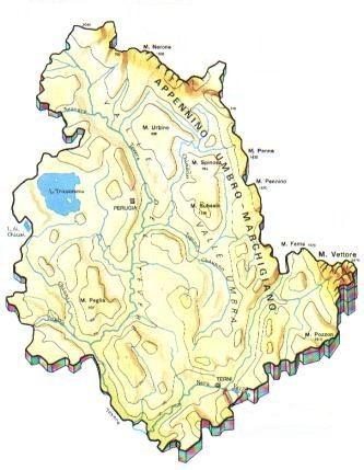 Umbria Cartina Geografica Fisica.Umbria Mappa Rilievi Valichi Coste Isole Paesaggio Fiumi Laghi Umbre