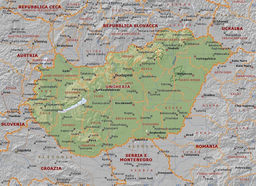 Trentino Alto Adige Cartina Fisica E Politica.Ungheria Carta Geografica Mappa Ungherese
