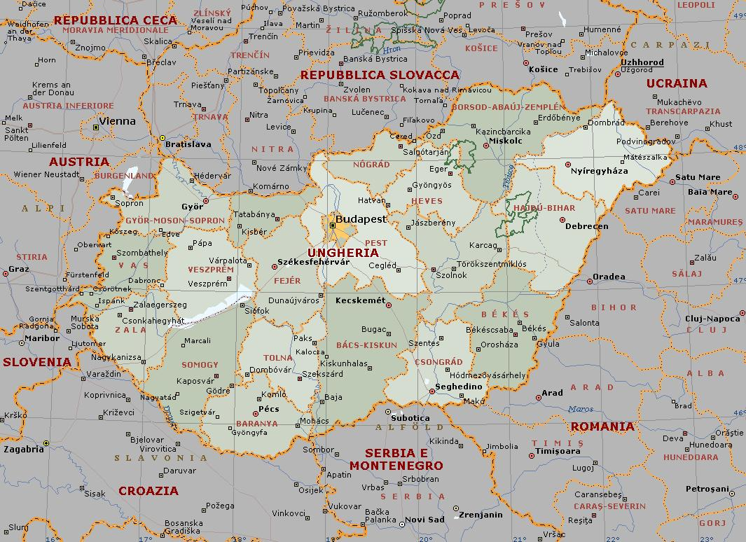 Umbria Cartina Geografica Fisica.Ungheria Carta Geografica Mappa Ungherese