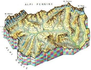 Cartina Fisica Italia Valichi.Valle Daosta Mappa Rilievi Valichi Coste Isole Paesaggio Fiumi